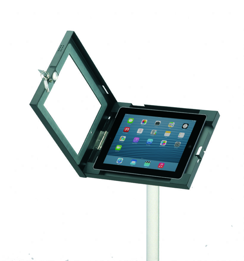 Portable Exhibition Plinths : Locking ipad stand floor standing holder for