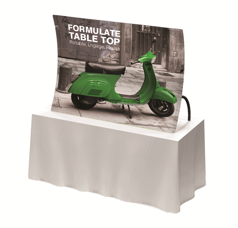 Formulate Tabletop Pop Up Stand With Superb Fabric Graphic